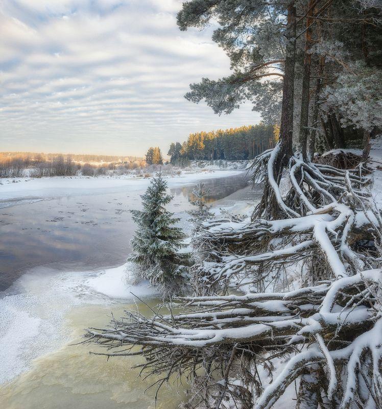 Заснеженный берег реки Белая Холуница IIphoto preview