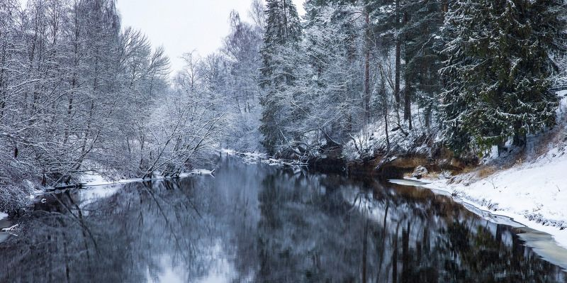 природа, зима, река, снег, снегопад, день на Оредежеphoto preview