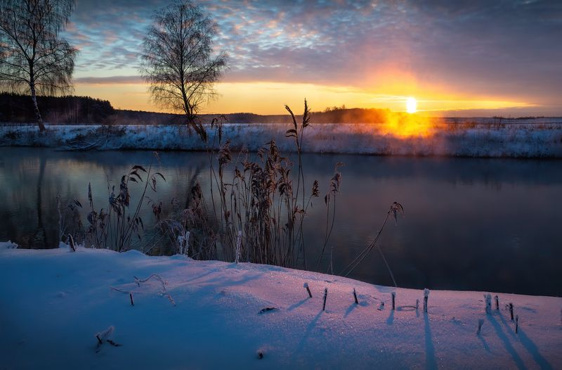 зима, рассвет, река, мороз, дымка, Зарисовка зимнего рассветаphoto preview