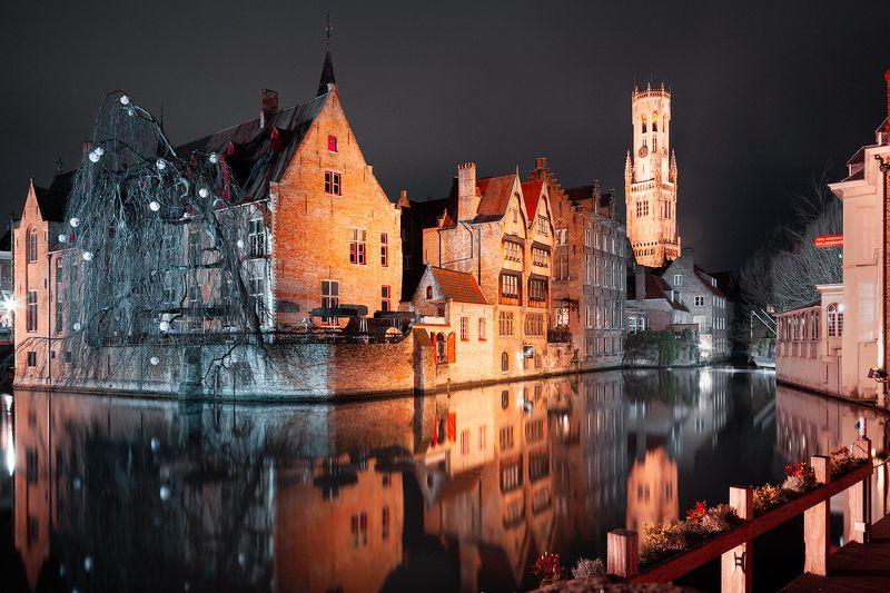 брюгге, ночь, канал, вода, свет *In Brugge*photo preview