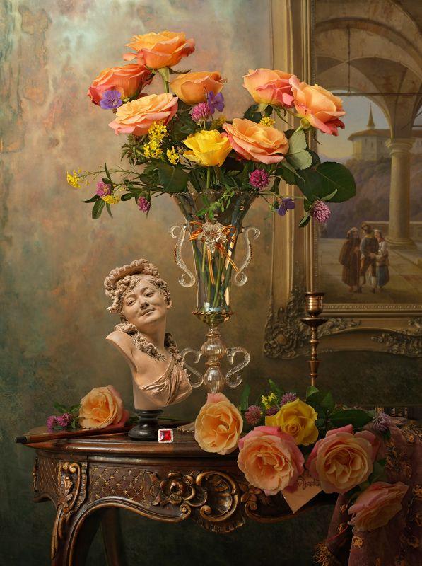 розы, цветы, скрипка, картина, скульптура, девушка, букет Натюрморт с розамиphoto preview