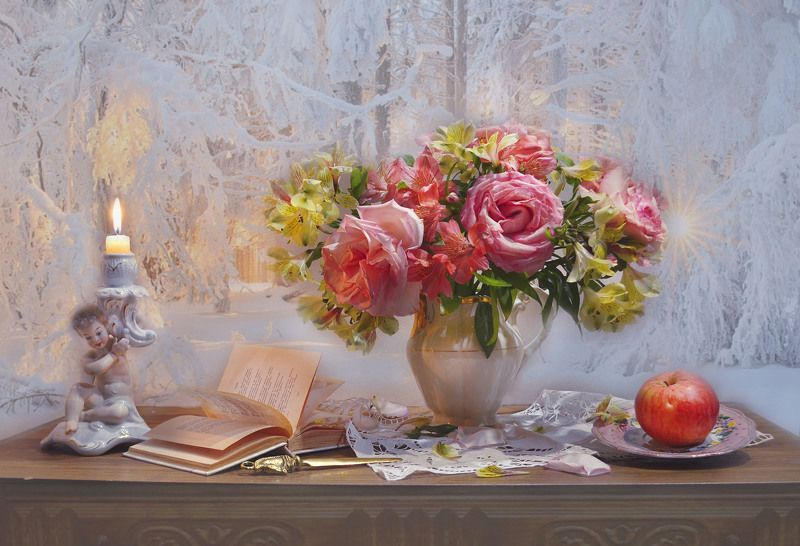 still life, натюрморт, цветы, фото натюрморт, зима, январь,последний день января, розы, альстромерия,книга, стихи, свеча, подсвечник, настроение И снова снег. И так сначала...photo preview