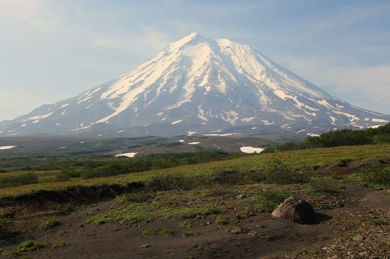 morning, landscape, volcano, hike, sky, nature, summer, peak, snow Morning on the Kamchatka Peninsulaphoto preview