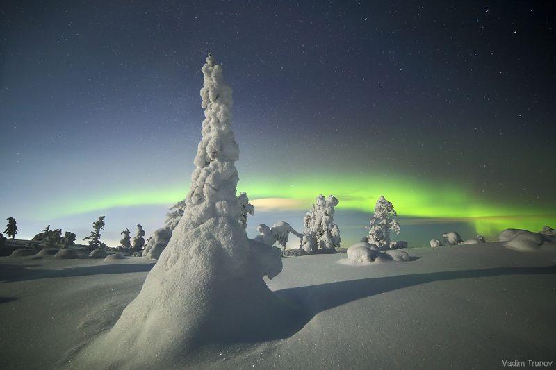 кольский, север, заполярье, северное сияние, aurora borealis Звёздной, лунной ночьюphoto preview