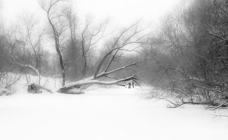 черно-белое Зимняя рыбалкаphoto preview