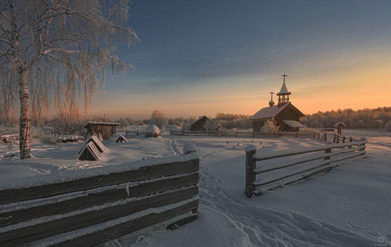 пейзаж, природа, путешествия, зима, деревня, закат Кенозерье, деревня Рыжково / Архангельская областьphoto preview
