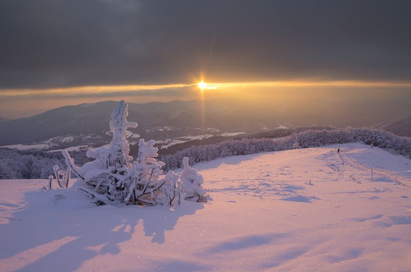 Bieszczady, sunset, winter, snow, sun, clouds, frost, subcarpatians,  Sunset in the Bieszczady Mountainsphoto preview