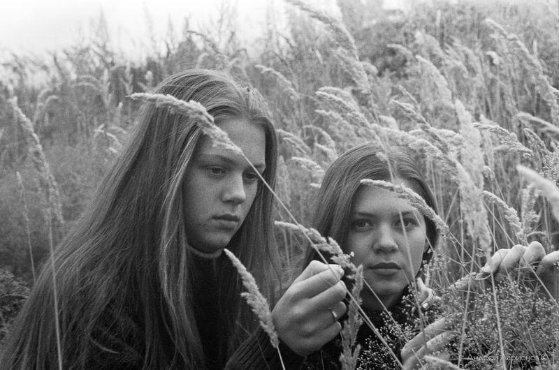 портрет, девушка, лето, трава Сёстрыphoto preview