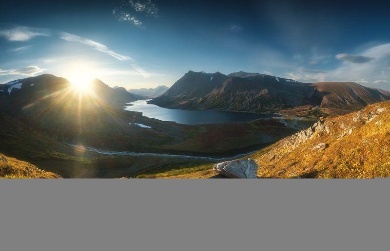 россия, урал, полярный урал, ямао, ямал, пейзаж, природа, осень, горы, река, озеро, закат, тундра, заполярье, поток Затерянный мир Полярного Уралаphoto preview