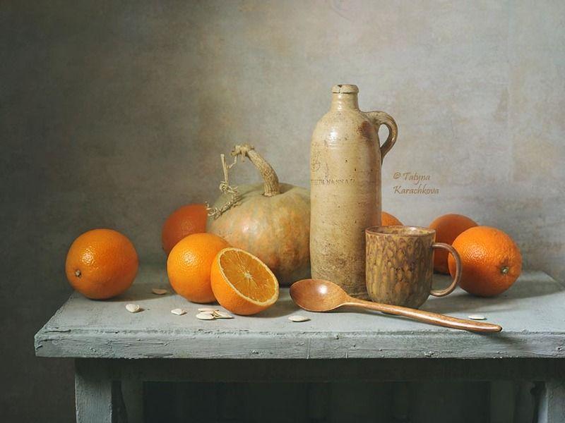 натюрморт, апельсины, тыква Натюрморт в пастельных тонахphoto preview