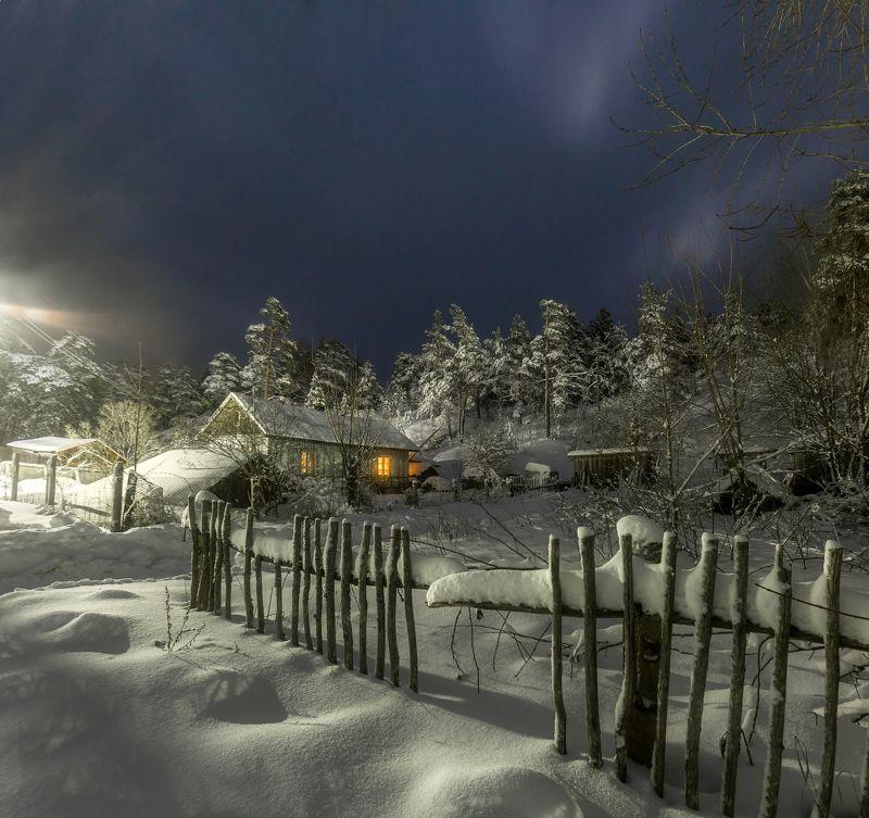 деревня, карелья, ночь, снег, зима, пейзаж , россия Снежная ночьphoto preview