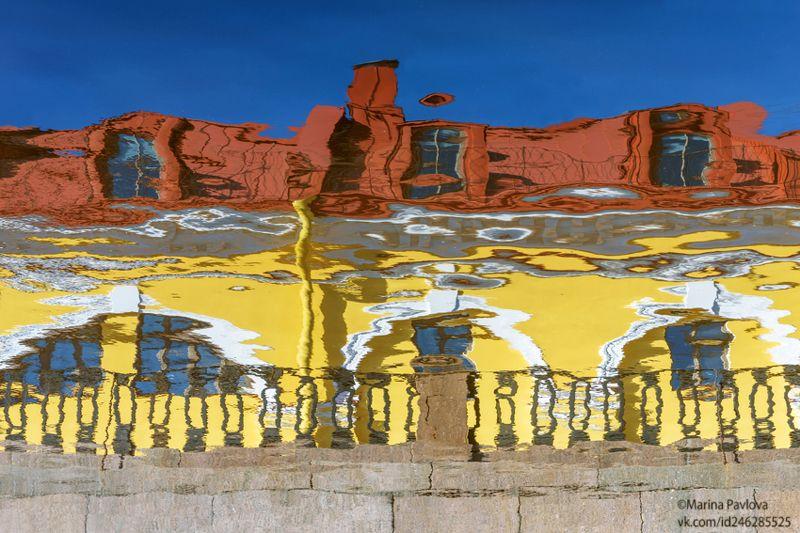 акваабстракция, акваграфика, абстракция, акварельный петербург, отражение набережной крюкова канала, никольские ряды,город,санкт-петербург. Весенний акварельный Петербургphoto preview