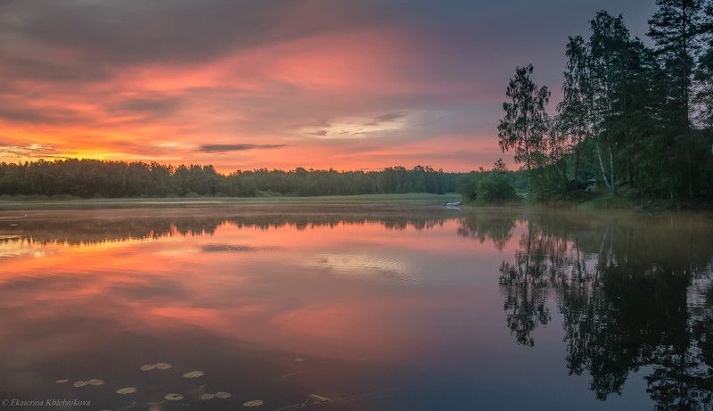пейзаж, закат, лето, озеро, вода, отражение, небо, облака, красота, природа Июльский рассвет..photo preview