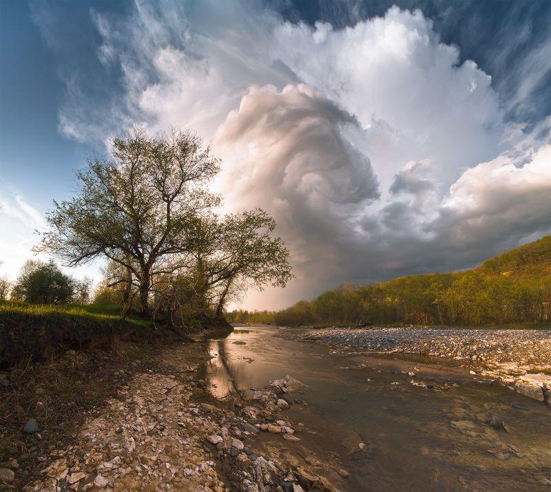 западный кавказ, малая лаба, псебай, шедок, белые скалы, апрель, гроза, закат, Рождение грозыphoto preview