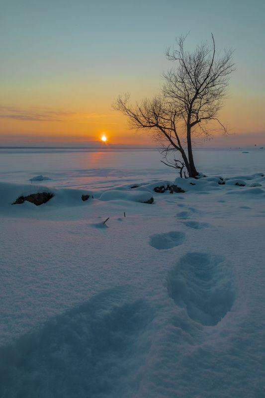 зима, вечер, залив, закат, пейзаж Закат над заливомphoto preview