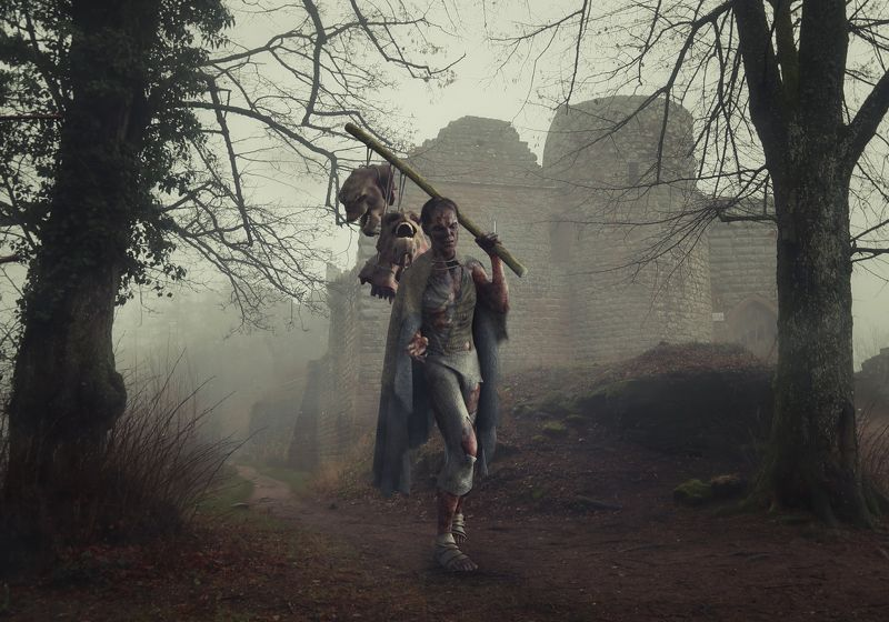 монстр, лес, старый замок *****photo preview