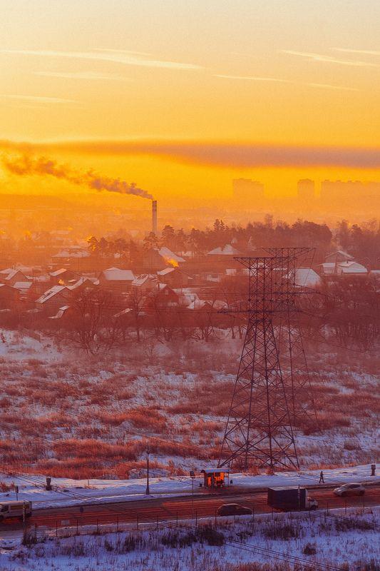 biocity, пейзаж, город, заводы, зима, утро, мороз, утреннее. окраинаphoto preview