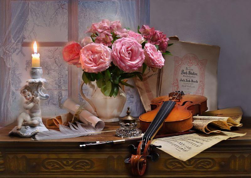 still life, натюрморт, цветы, фото натюрморт, зима, январь, розы, подсвечник,, перо, скрипка, ноты, чернильница, смычок Вьюга белую скрипку достала...photo preview