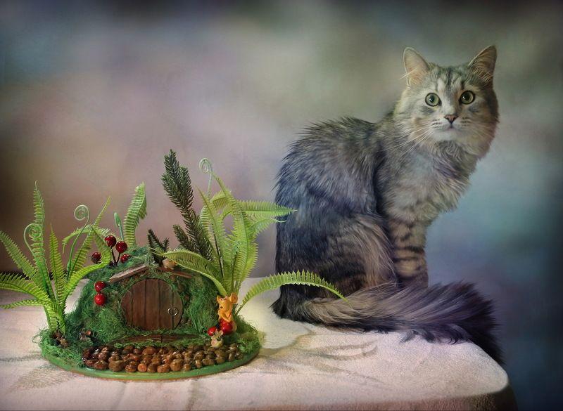 животные, кошки, композиция, топиарий, сувенир Про котиков и \