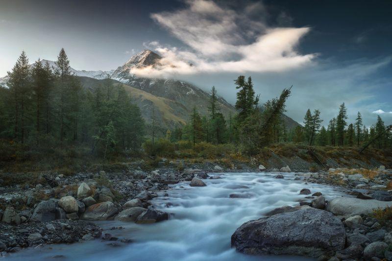 алтай, озеро, горы, лес, природа, закат, рассвет, красота, приключения, путешествие Аккема воды быстрыеphoto preview