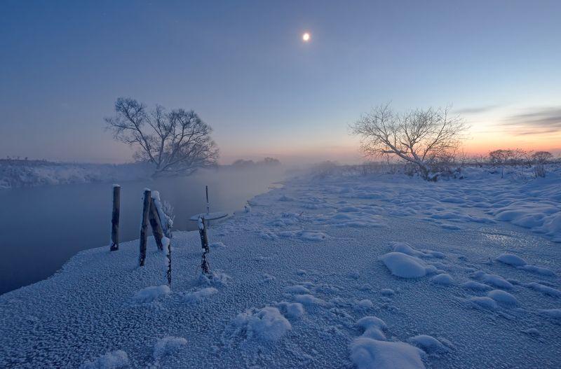 зима, ночь, свислочь, туман, иней, мороз Январская ночьphoto preview