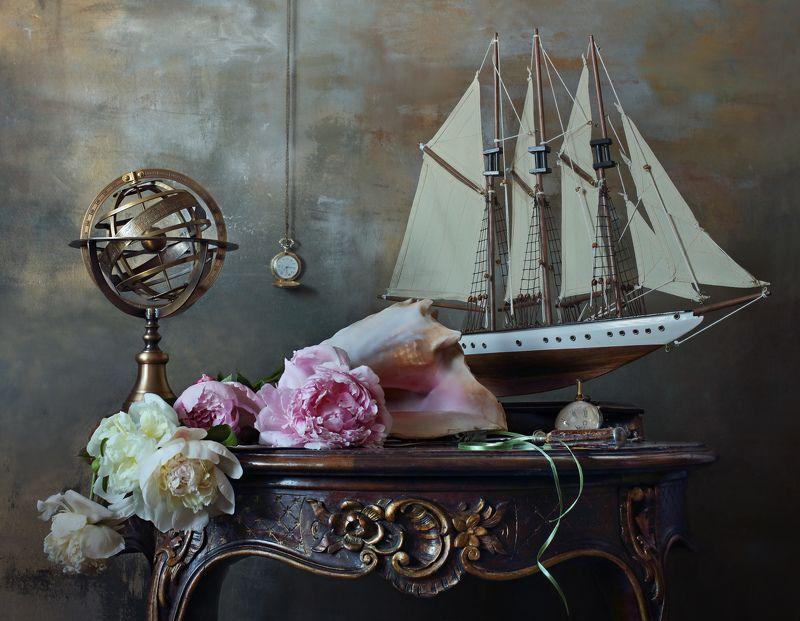 пионы, цветы, море, корабль, парусник, раковина, часы Натюрморт с морской раковиной и пионамиphoto preview