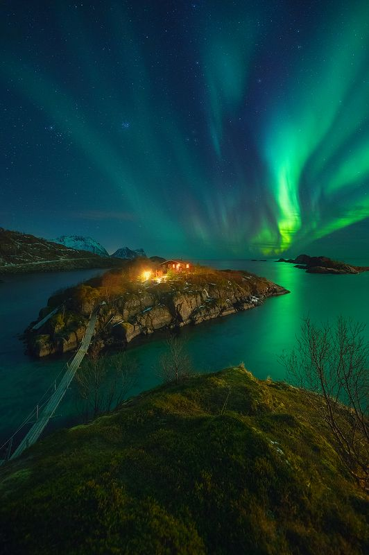 norway, night, aurora, borealis, landscape, sea, island  hamn фото превью