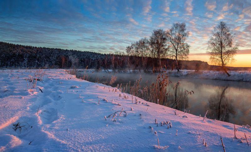 зима, рассвет, река, дымка, Зимняя рекаphoto preview