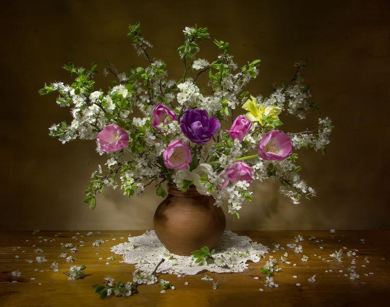 натюрморт, весна, тюльпаны, вишня А скоро весна....photo preview