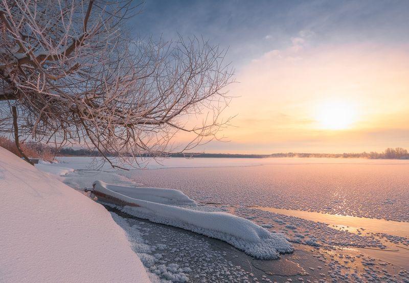 зима, рассвет, озеро, утро, пейзаж, шатура Скованная льдамиphoto preview