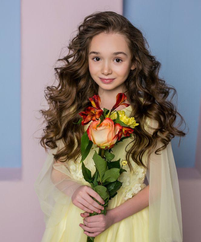 девочка,ребенок, портрет, детский портрет, весна, нежность, портрет девочки, глаза, весенняя,желтый,солнышко,платье Дианаphoto preview
