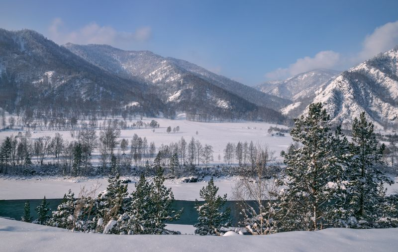 горный алтай,зима,снег,река катунь На высоком берегу реки...photo preview