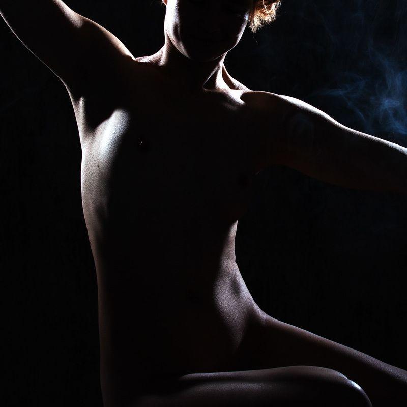 силуэт, девушка, ню, контровый свет Силуэтphoto preview