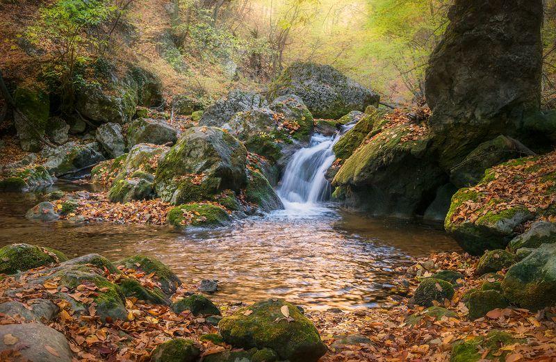 крым, водопад, лес, пейзаж, осень, каньон, большой каньон, река Живая водаphoto preview