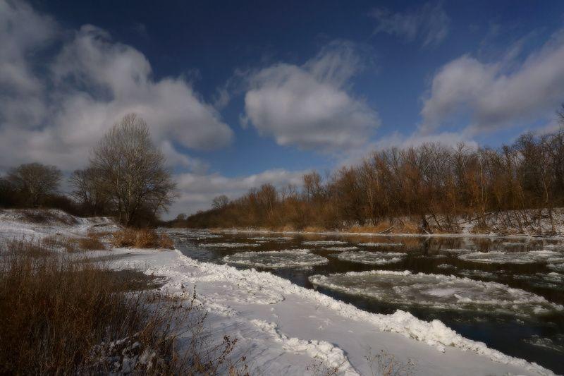 зима, река, лёд, мороз, снег, северский, донец ***photo preview