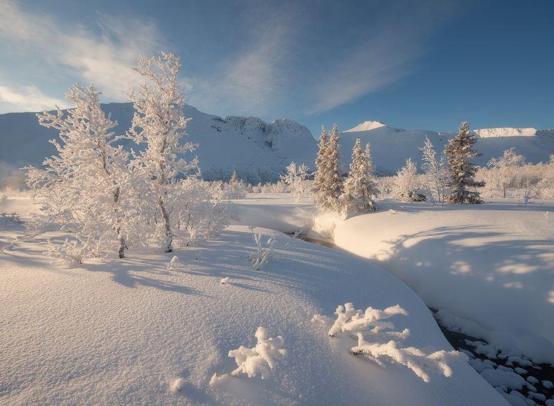 пейзаж,хибины,россия,горы,свет,солнце,река,зима Малый Вудъяврphoto preview