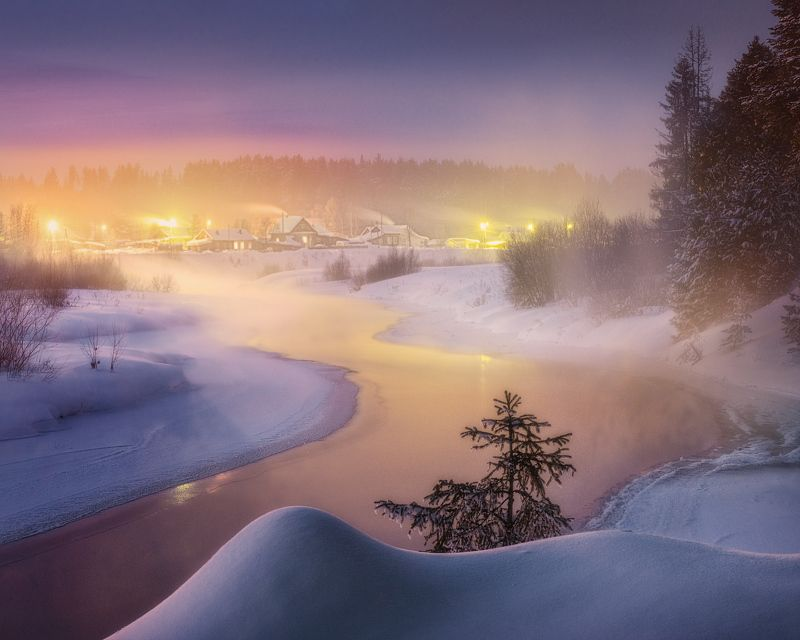 зима, туман, река Созерцая февральский морозphoto preview