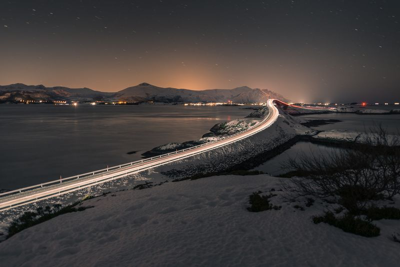norway,landscape,light,night,winter Atlantic Road at nightphoto preview