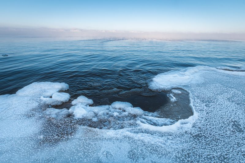 winter sea ice water fog frozen  photo preview