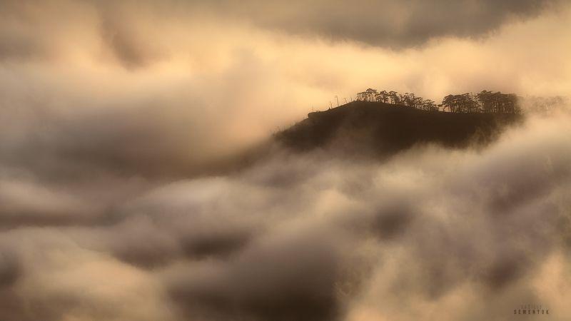 крым, ялта, иограф, никитская яйла, вечер, облака, туман, горы, crimea, mountain, mist, clouds, sunset. Туманные сны Иографа.photo preview