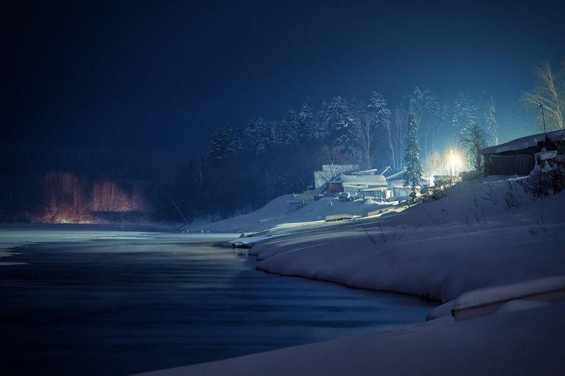 вишера, река, лед, деревня, зима, мороз, мороз, красновишерск Ночь январяphoto preview