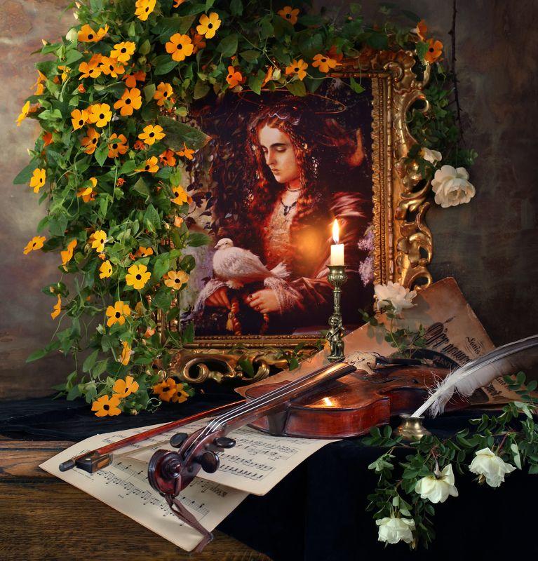 цветы, тунбергия, розы, скрипка, музыка, свеча, девушка, картина Натюрморт со скрипкой и картинойphoto preview