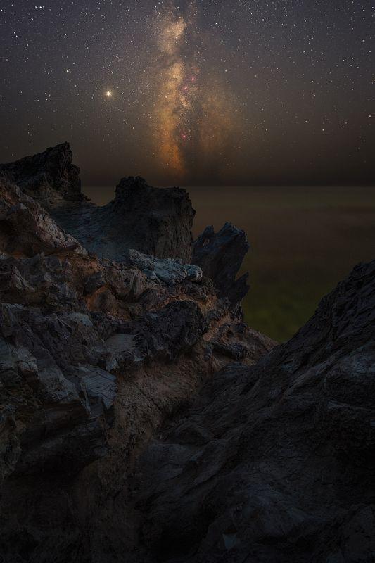 крым, ночь, звезды, млечный путь, фиолент, скала дракон, астро Душа Алдуинаphoto preview