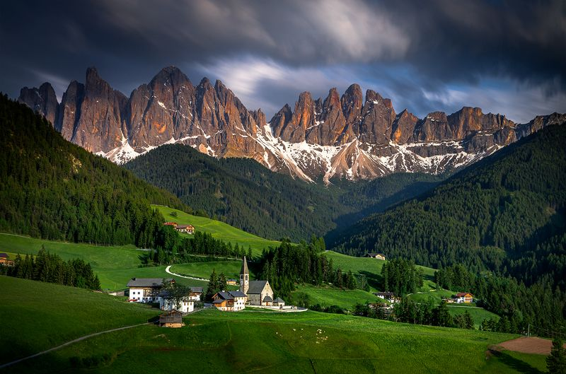 landscape nature scenery sunset travel outdoor mountain peaks chapel church longexposure clouds italy dolomites Santa Maddalena sunsetphoto preview