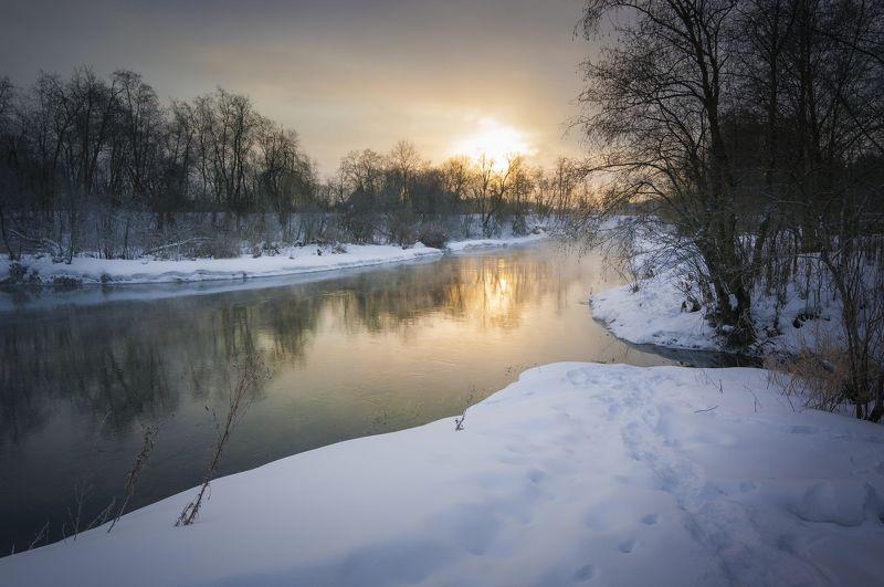 туман, московская область, утро, природа, пейзаж Река Истра морозным утромphoto preview