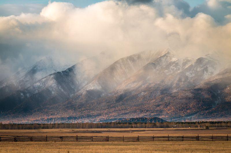 осень, горы, облака, туман, закат, вечер Горы в облакахphoto preview
