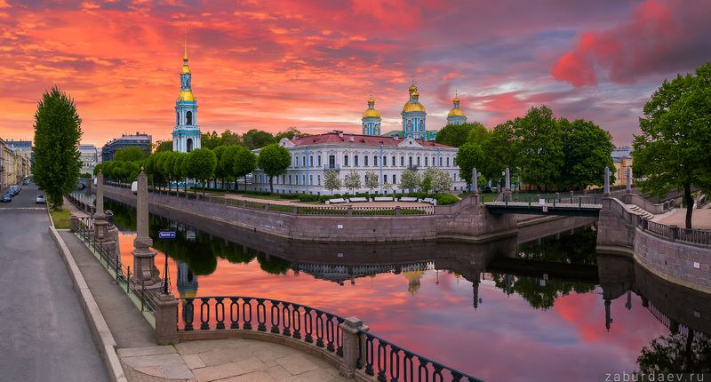 россия, петербург, лето, дрон, рассвет Никольский собор фото превью