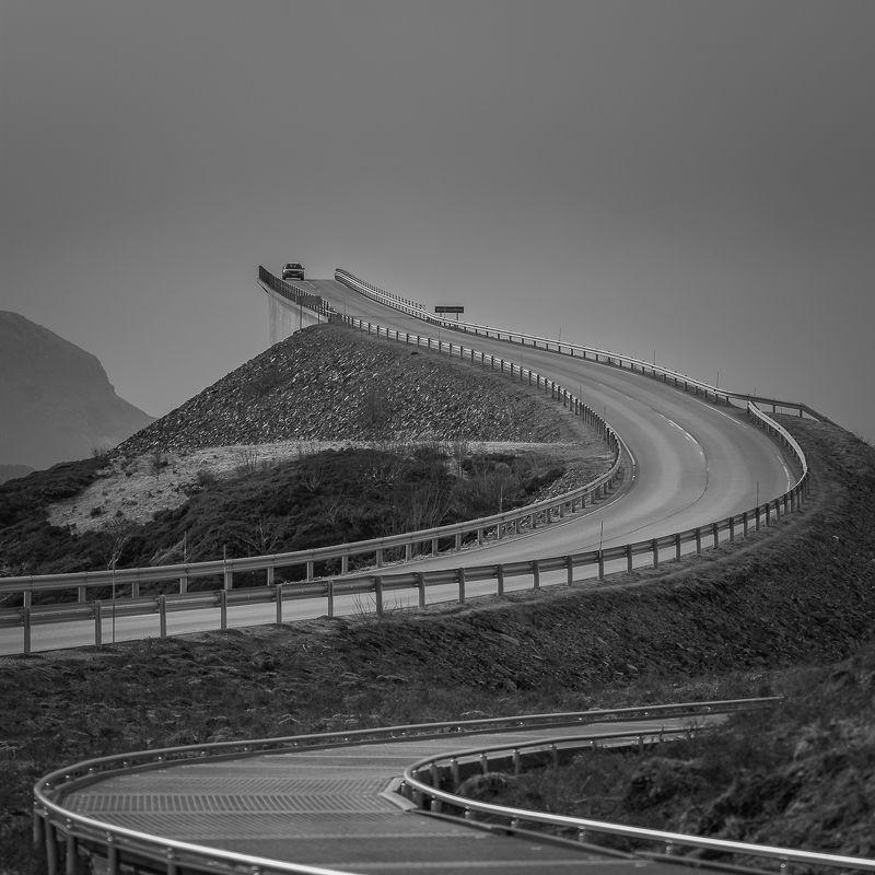 norway,b&w,landscape Atlantic Roadphoto preview