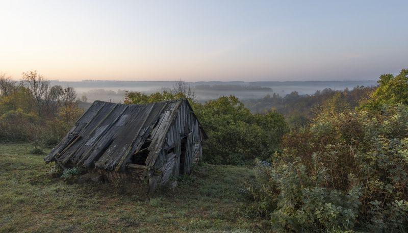 утро рассвет  осень деревня Еще один день.photo preview