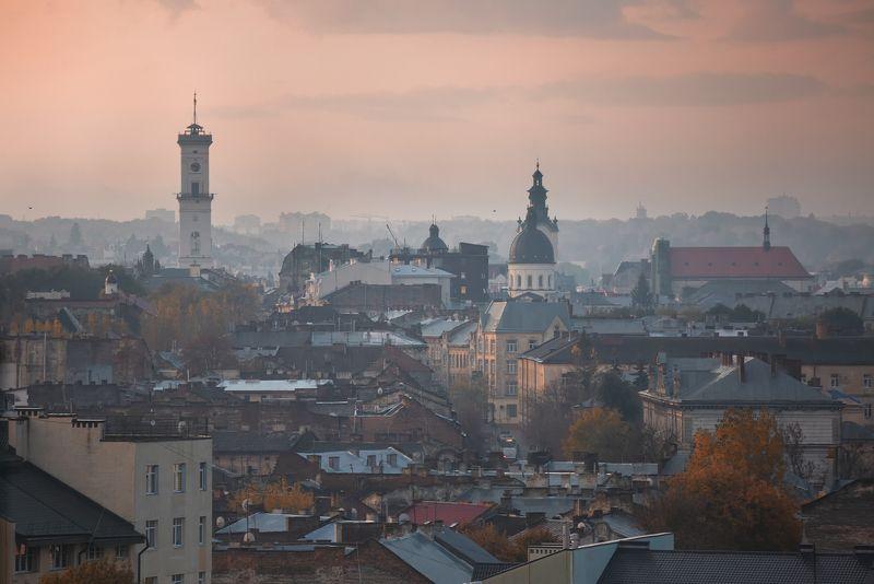 Львов, Украина, рассвет, город ,городской пейзаж ,Lvov ,Ukraine ,sunrise , city  Рассвет.photo preview
